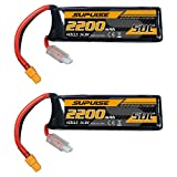 SUPULSE 2pcs 14.8V 4S 2200mAh 50C Lipo Battery with XT60 Plug for RC Airplane RC Boat