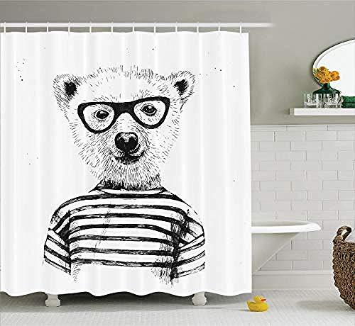 Relovsk douchegordijn modieus doek stof badkamer decor set met haken waterdicht en meeldauw beer patroon dragen bril