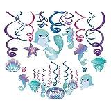 30Ct Mermaid Hanging Swirl Decorations - Mermaid Tail Mermaid Starfish Jellyfish Little Mermaid Shell Seahorse Glitter Mermaid Dolphin Ceiling Hanging Swirl Decorations for Girls ,Boys ,Kids Home ,Classroom ,Baby Showers ,Birthday Party Supplies Mermaid Themed Party
