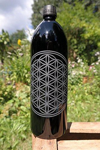 1 L Flasche, Mironglas/Ultraviolettglas mit der Blume des Lebens