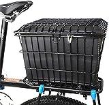 WYZQ Canasta para Bicicleta con Tapa, Canasta Trasera para Bicicleta, portabicicletas para Montaje Fijo, portaequipajes, Canasta de Almacenamiento de Alambre