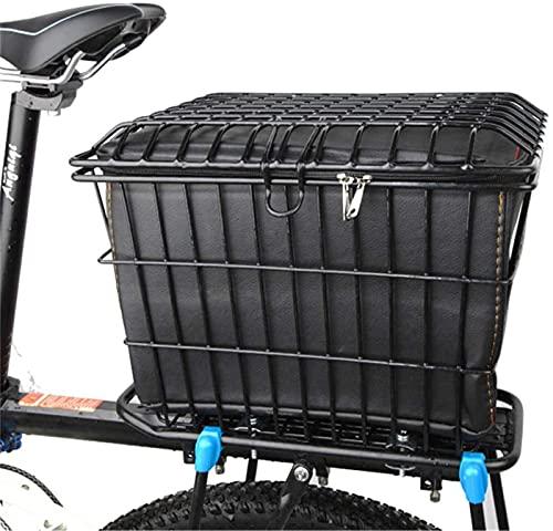 Bike Basket with Lid, Bike Rear Basket Bike Fixed Mounted Carrier Rack Wire Storage Basket Bold Bicycle Rear Basket Basket for Shopping Camping,Hydration Packs