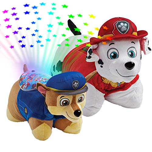 "Pillow Pets Nickelodeon Paw Patrol, 16"" Marshall and Chase Sleeptime Lites, Stuffed Animal Plush Toy and Night Light"