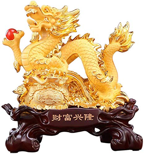 L.TSN Adorno de estatuilla de Estatua de dragón Coleccionable Resina de Feng Shui con Adorno de Escultura de Dragon Ball Decoración de Prosperidad de Riqueza para Oficina en casa, Verde, Color: Ve