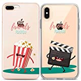 Lex Altern Couple Cases Compatible with iPhone 12 Pro Max 11 Mini SE Xr Xs 8 Plus 7 6 Cinemaholic Cinema Best Friend Movie Cute Forever Clear Girlfriend Silicone Matching TPU Flexible Popcorn