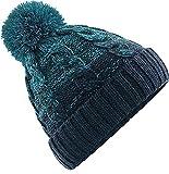 Neverless Strick-Mütze Herren Grobstrick Pudel-Mütze zweifarbig Ombré Bommel-Mütze Winter-Mütze türkis-Navy Unisize