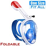 TriMagic Full Face Snorkel Mask for Adults-183 Panoramic View Snorkel Mask, Anti-Leak Anti-Fog Snorkel Mask with Detachable Camera Mount