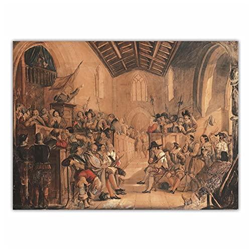 FACAIA John Everett MillaisA Roundhead Conventicle: A Scene of Sir Walter Scott 'Peveril of the Peak'': Decoração de pintura a óleo em tela - 60 x 80 cm sem moldura