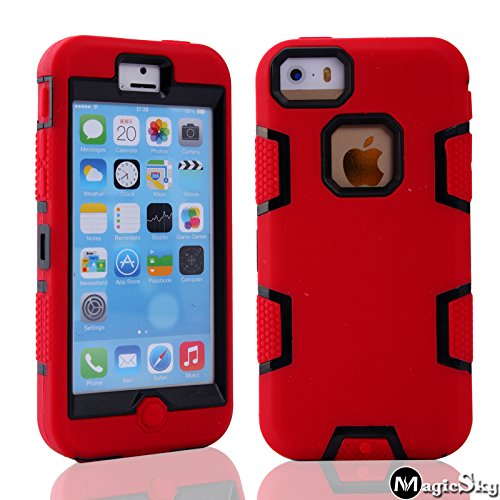 protect iphone 5c cases 5C Case, iPhone 5C Case Cover, Magicsky Full Body Hybrid Impact Shockproof Defender Case Cover for Apple iPhone 5C, 1 Pack(Black/Red)