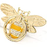 Cell Phone Ring Holder Stand with Crystal Stone Enamel Bee, Allengel Finger Kickstand Back Stand Hand Grip with Knob Loop Compatible with Smartphone, Mobile Cute Decor Beauty Phone - Gold