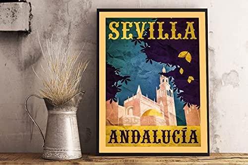 Cartel retro de viaje de Sevilla, Andalucía, Sevilla, España, retro, vintage, de metal, para decoración artística, 20 x 30 cm
