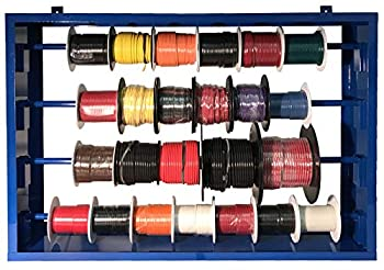 24  Automotive Electrical Primary Wire 100 FT Rolls & Mountable 27  Steel Spool Rack Assortment - 10 AWG to 20 Gauge Cable - USA