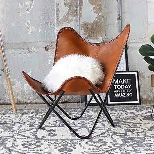 NZTRADERS presenta una funda de piel para sillón de piel de búfalo puro marrón tostado para decoración del hogar