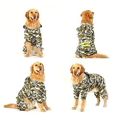 WNFYES Płaszcz przeciwdeszczowy dla psa Pies płaszcz żakiet bluza z kapturem wodoodporna poncho deszczowy akcesoria przeciwdeszczowe Duża odzież (Color : Camouflage, Size : 5XL 25 30KG)