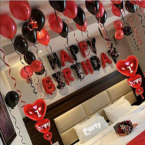 Party Pilot Happy Birthday Red Black Letter Foil Banner Surprise Decoration Combo for Husband/Wife/Couples
