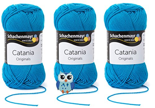 Schachenmayr Catania Wolle 3x50 Gr, 100% Baumwolle + 1 Eulen Knopf (Farbreihe 100-199) (146 Pfau)