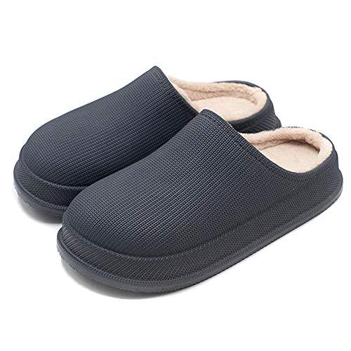 Acutty Waterproof Non-Slip Home Slippers Plush Lining Warm Thick Winter Men Women Slippers