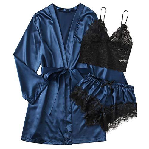 Fenverk 3PCS Frauen Kimono Roben Satin Bademantel Pfauenblüten Morgenmantel Kimono...