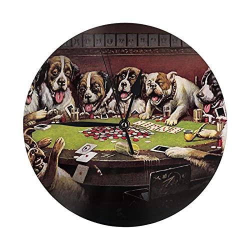 GOSMAO Round Wall Clock,Crazy Cards Dogs,Hanging Clock Desk Clock Decorative Clock For Home School Office