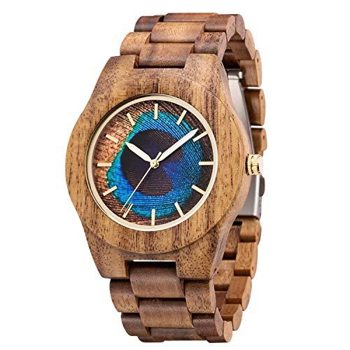 MUJUZE Holzuhr Herren Damen Holzuhren für Herren Analoge Quarz Holz Armbanduhren mit Sandelholz Band und Leuchtendem Zeiger (Mango)