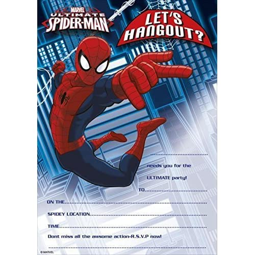 Pack Of 20 Marvel Ultimate Spiderman Party Invitations