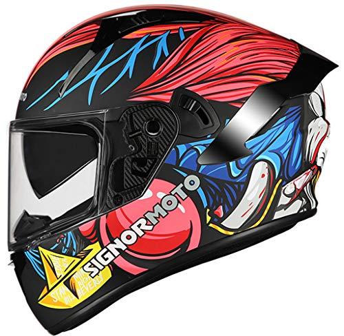 Casco de Moto Integral, Personalidad Scooter Helmet para Mujer Hombre Adultos con Doble Visera, Forro Extraíble y Lavable - Negro Mate Sólido Color,M-Black/Red/Blue Clown