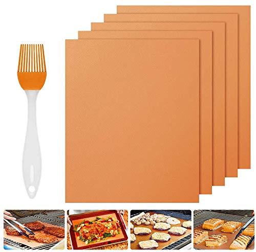 Nasharia BBQ Grillmatte 5er Set, 100% Antihaft BBQ Grillmatten Backmatte mit 1 Silikon Bürste zum Grillen und Backen für Kohle-, Elektro- & Gasgrills, Wiederverwendbar, PFOA-frei, 40x33 cm, Kupfer