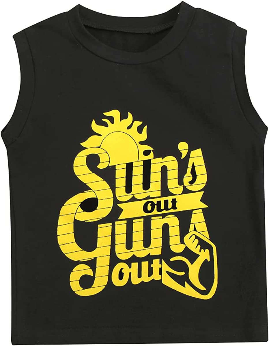 Toddler Baby Boy Tank Top Sleeveless T-Shirt Letter Sun's Out Guns Out Tank Tops Kids Casual Vest Summer Clothes