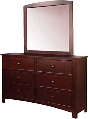 Furniture of America Alaia Cherry 2-Piece Dresser and Mirror Set