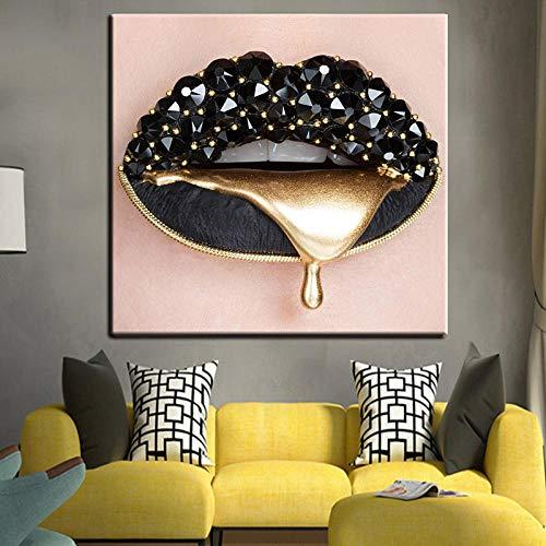 ZDFDC Beauty Makeup Gold Gem Sexy Lippen Leinwanddruck Gemälde Poster und Drucke Wandkunst Bild für Wohnzimmer Dekor Wand-60x60cmx1 ohne Rahmen