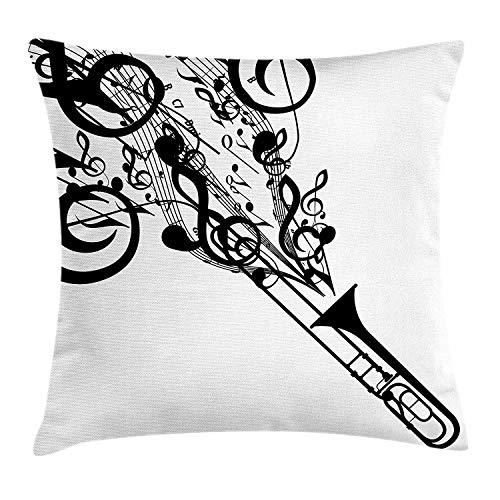 Mesllings - Funda de cojín con diseño de trombón, silueta de trombón con símbolos musicales, inspiración cultural, decorativa cuadrada, 18 x 18 pulgadas, color blanco y negro