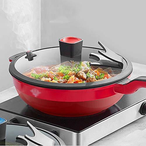51xZX z0NWL. SL500  - NXYJD 30cm Antihaft-Wok Antihaft-Pfanne Ohne Ölrauch Unbeschichteter Haushalts-Wok-Pfanne Induktionstopf Küchentopf Kochtopf (Color : Red)