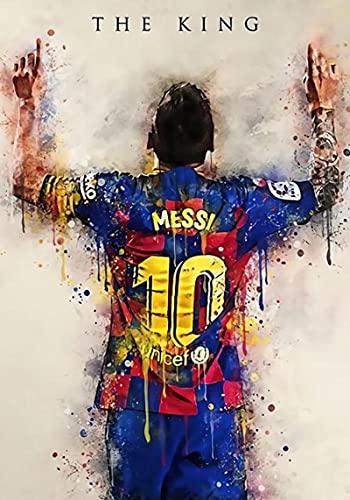 ThinkingPower Cuadro en LienzoPóster e Impresiones con número de Camiseta de Jugador de fútbol Mundial Messi, impresión en HD, Arte de Pared, decoración Decorativa para Dormitorio 60x90cm