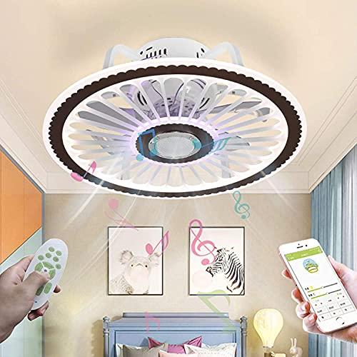 LED Musik Deckenventilator mit Bluetooth Lautsprecher Fan Deckenleuchte Leise Dimmbar Ventilator Deckenlampe mit Beleuchtung Moderne Invisible Fan Licht mit Fernbedienung APP...