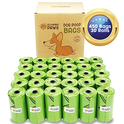 Glowing Paws Biodegradable Dog Poop Bags  450 Eco Friendly Unscented Dog Waste Bags Refills Totally LeakProof and Extra Thick Conceal Sight and Smell of Poop
