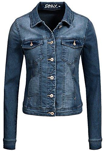 ONLY Damen Kurze Jeans Jacke New Westa Brusttaschen Kragen medium Blue Denim 36