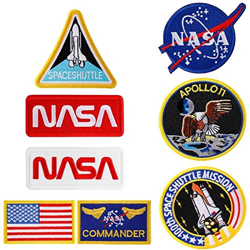 8Pcs NASA Patches ,Embroidered Iron On or Sew On Space Patches,Apoll Patches,Space Shuttle Patches,US Flag Patch (Iron on/Heat Transfer Backing