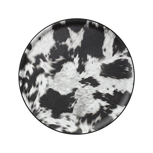 PLATEX 90036917 Plateau Limo Ø36cm Cow, Plastique, Noir, 36 cm