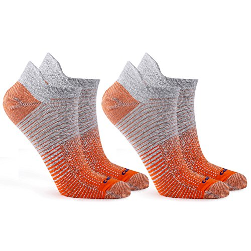 Coolmax 2 3 Paare Sneaker 38-40 41-43 44-46 Sportsocken Laufsocken Arbeitssocken Dehnbar Antibakteriell Kurzschaft Socken Strümpfe Freizeitsocken Jungen Herren Damen, 2 Paare/Orange, L (41-43)