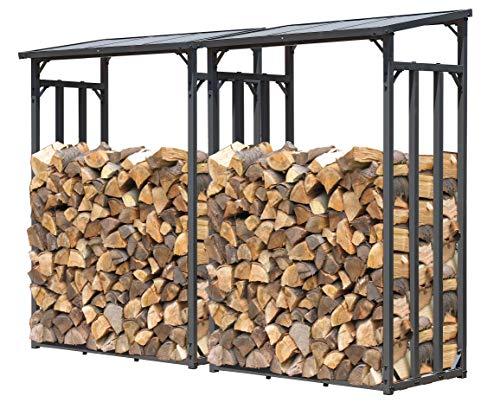 QUICK STAR 2 pièces Étagère en métal pour Bois de cheminée Anthracite 130 x 70 x 185 cm Distance Entre Les Bois 3,2 m³
