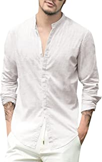 Mens Linen Shirts Beach Summer Long Sleeve Slim Fit Button Up Shirt Banded Collar Casual Tops