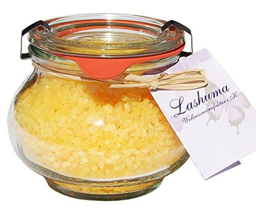 Lashuma Badesalz im Weck Schmuckglas 250 g, Tote Meer Salz Badekristalle, Geschenk Badezubehör Duft Honig - Mandel