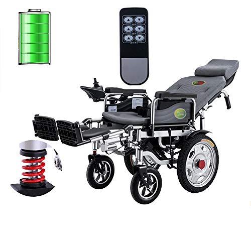 RUIVEN Leichte Elektro-Rollstuhl, Faltbare Rollstuhl mit Netzteil, Fernbedienung und manuellem Betrieb, verstellbaren Pedalen und Rückenlehne