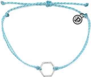 Pura Vida Silver or Gold Hexagon Bracelet - Waterproof, Artisan Handmade, Adjustable, Threaded, Fashion Jewelry for Girls/Women