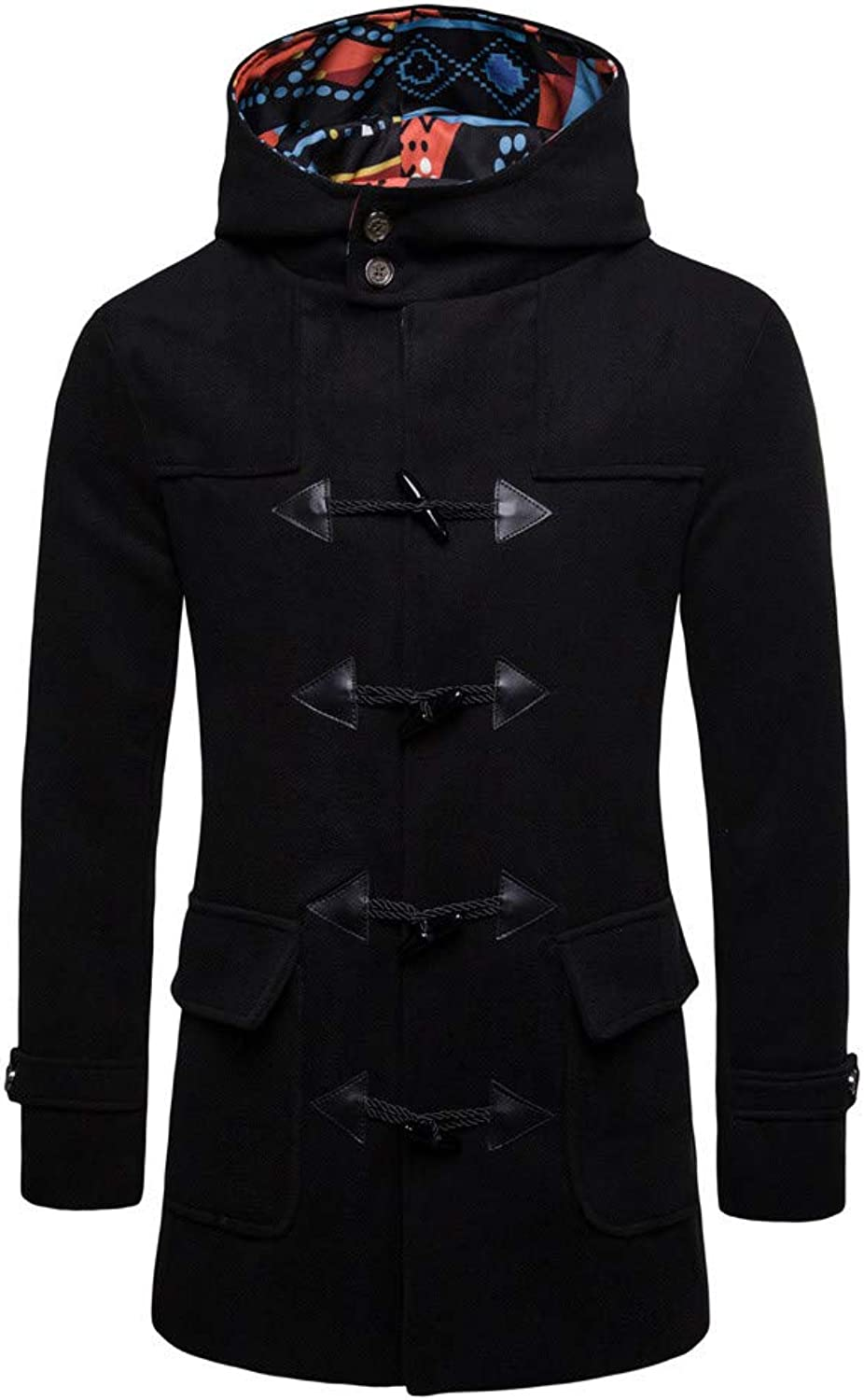 Mens Jacket Winter Trench Long Outwear Button Smart Overcoat Coats (color   Black, Size   XL)