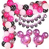 Kreatwow Compleanno Minnie Decorazioni Minnie a Tema Palloncino con Fiocco Ghirlanda Kit per Compleanno Baby Shower Supplies