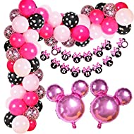 Hot Pink Minnie Balloon Kit: This valued kit contains 70 latex balloons, 2 minnie head foil balloons, 1 minnie HAPPY BIRTHDAY banner, 1 roll glue dots, 1 balloon strip and pump. Multiple Choices For You: We prepared balloon tying tools and glue dots,...