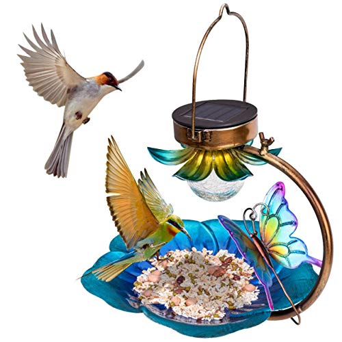 Birdream Solar Bird Feeder for Outside Hanging Wild Birdfeeders Seed Tray Outdoor Solar Powered Garden Light Metal Butterfly Decorative LED Landscape Lighting Waterproof 95 Inch Dia for Yard