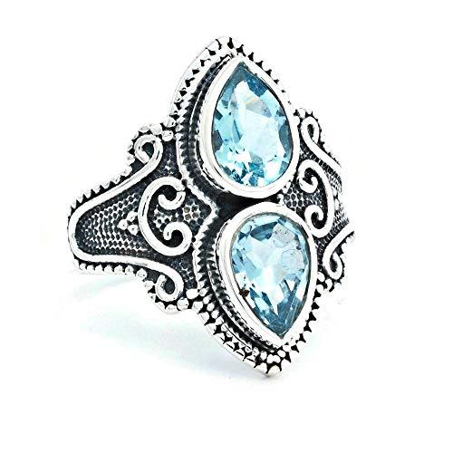 Anillo de plata de ley 925 azul topacio (No: MRI 170), Ringgröße:56 mm/Ø 17.8 mm