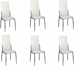vidaXL 6X Dining Chairs White Artificial Leather Steel Seat Kitchen Furniture